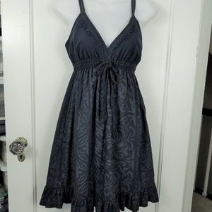 Navy Cotton Dress with Rope Tie